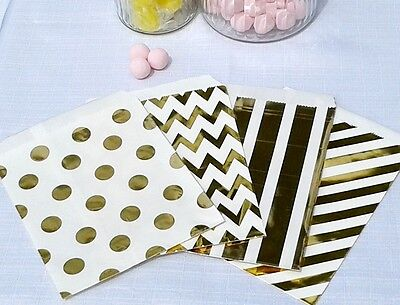 Metallic Foil Gold Paper Sweet Bags - favours, party bag, wedding, candy buffet