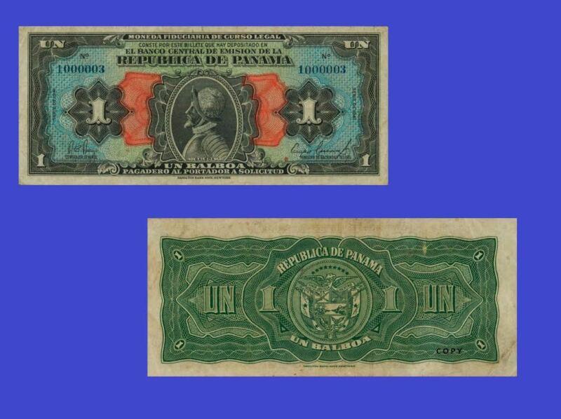 Panama banknotes 1 Balboa 1941. UNC - Reproductions