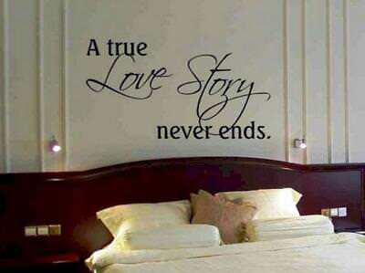 A TRUE LOVE STORY NEVER ENDS Couple Wall Art Decal Quote Words Lettering Decor - A True Love Story Never Ends
