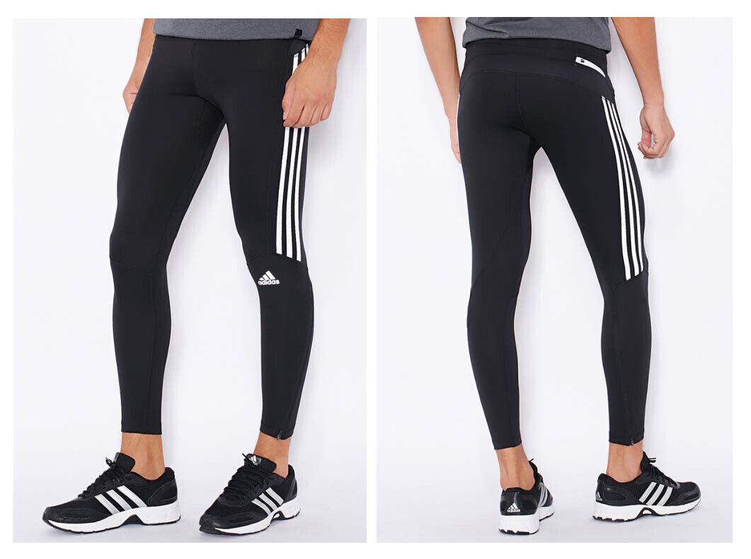 Details zu ADIDAS Response Herren Longtight ClimaLite Tight Sporthose Fitness Hose schwarz