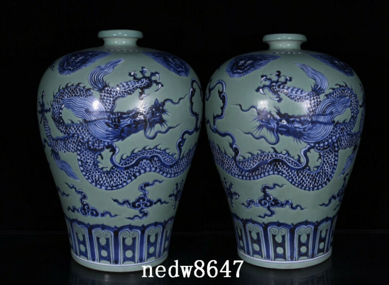 """16.1"""" Chinese Porcelain ming dynasty xuande A pair Blue white green dragon Vase"""