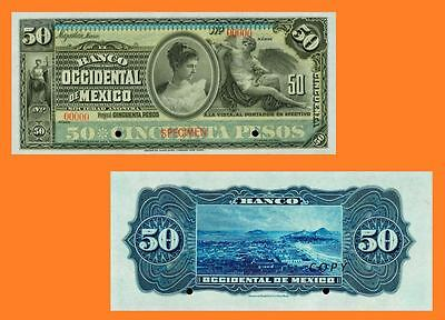 Mexico Banco Occidental de Mexico 50 Pesos ND(1898.-1904.) . UNC - Reproduction