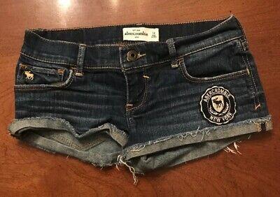 Girl's Abercrombie Kids Blue Denim Cuffed Shorts sz 14 Stretch NY patch