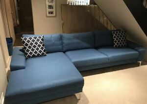 Brand new right hand blue upholstered sectional comfy
