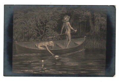 Ae1252  Kids In Boat Look For Water Lillies Fidus  50 Rppc