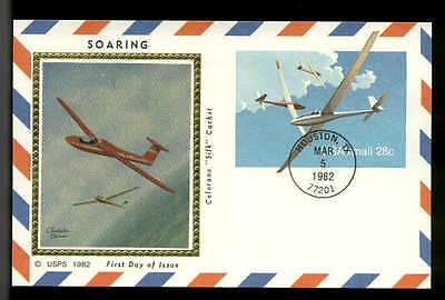 "U.S. FDC #UXC20 Colorano ""Silk Cachet Houston, TX Sail Plane"