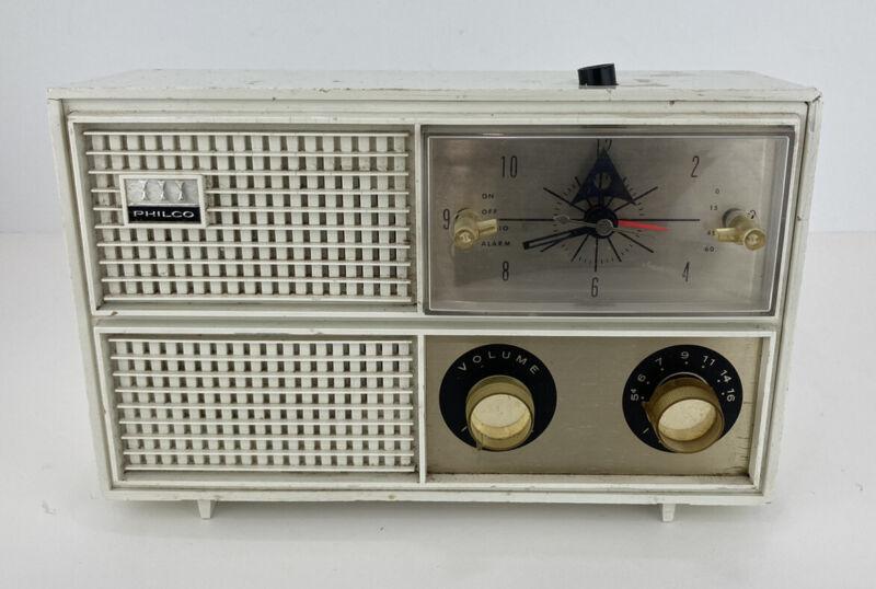 Vintage Philco Alarm Clock AM Tube Radio Mid Century Modern