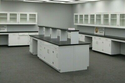 12 X 4 Bench Island Casework Two Sided Laboratory Cabinet Group E1-557