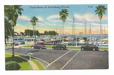 Vintage Florida Linen Postcard St Petersburg Yacht Basin Old Cars