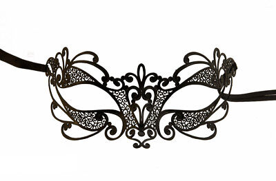 Mask from Venice Flora Sleeveless Rhinestone Venetian Lace Metal Black 1005