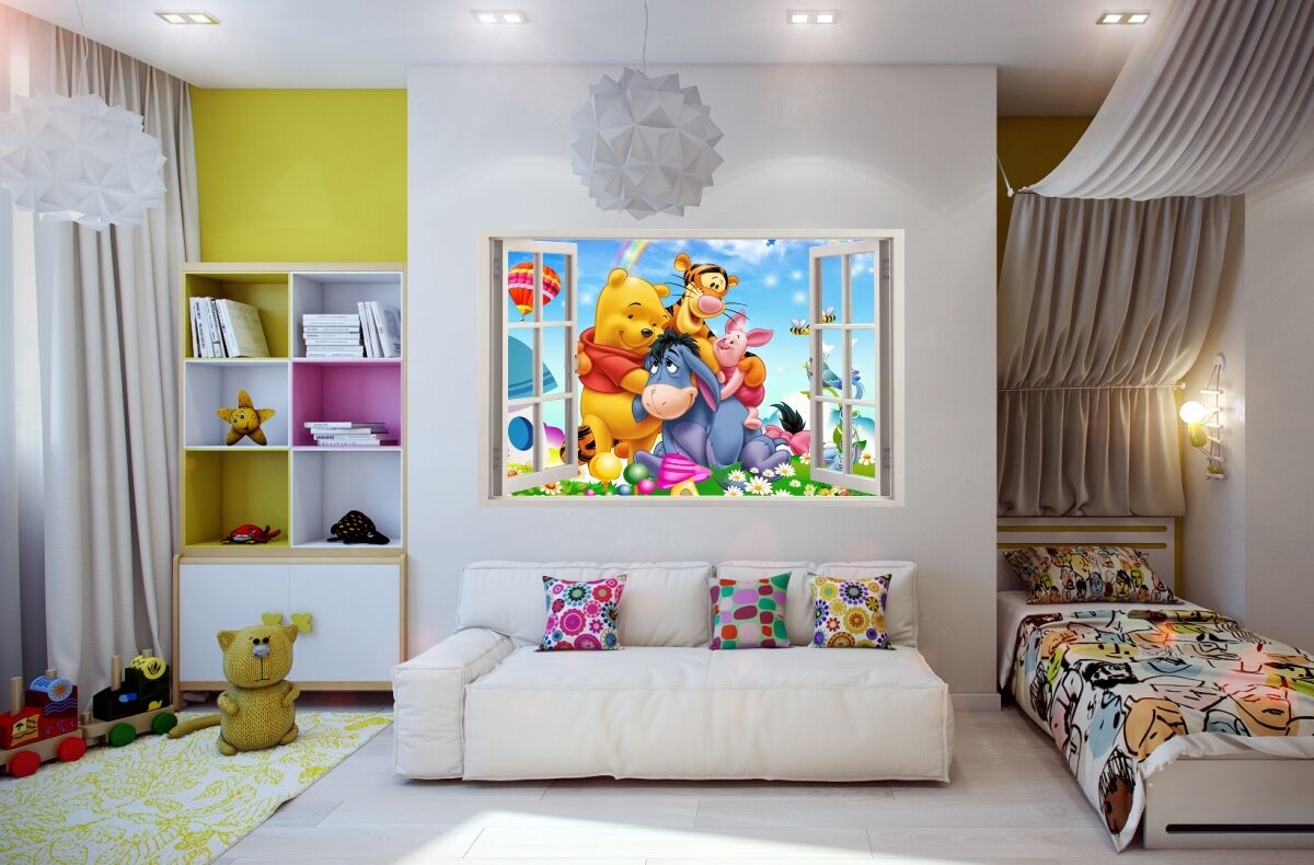 Wall Stickers 3d Effect Window Winnie Pooh Sticker Vinyl Decor Mural