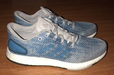 Adidas Pure Boost White and Blue Running Athletic Shoes Men's Size 7.5