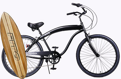 """Fito Modena Sport II 7-speed - All Matte Black, Men's 26"""" Beach Cruiser Bike"""