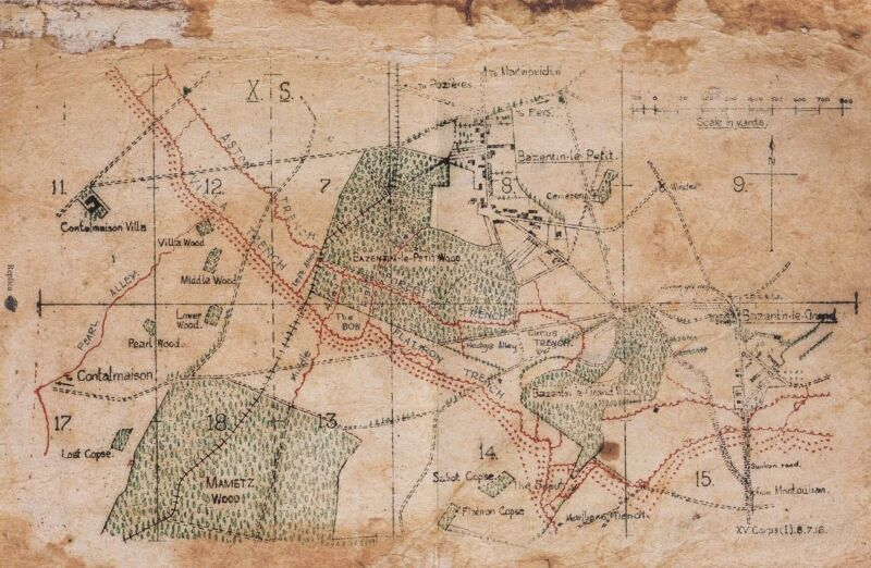 20th Infantry Battle Plans and Map Montauban 13th July 1916 World War 1 Somme