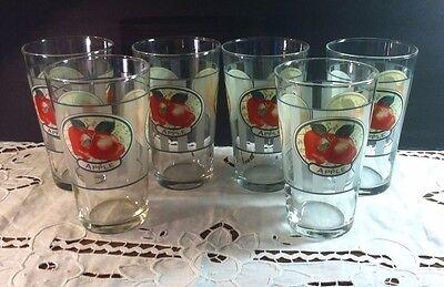 6 Vintage Red Apple Striped Design 16 oz Beverage Glasses - Excellent Condition Red Apple Design