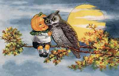 vintage art HALLOWEEN  Owl, with Pumpkin kid on Branch Full Moon (Pumpkin Art)