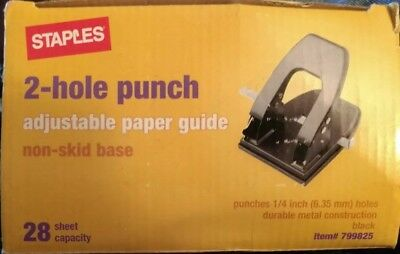 New Staples 2-hole Punch 14 Inch Holes 28 Sheet Capacity 799825 Non Skid Base