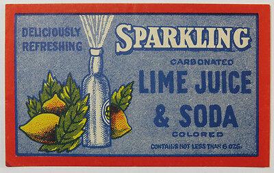 Vintage Soda / Beverage Bottle Label - Sparkling Carbonated Lime Juice & Soda