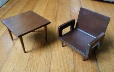 1958 Mattel Int'l Barbie MCM Furniture Living Room Set Chair Table