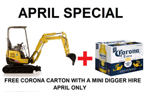 Hire Mini 1.7 tonne digger / excavator only $200.00 per day