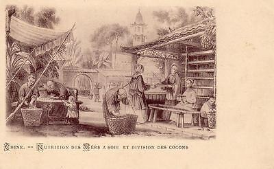 Early Gruss Aus Chine China feeding silk worms unused old pc