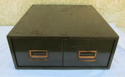 Vintage Peerless Steel 2-Drawer Desktop File Military Army Green 5x7 Index Cards