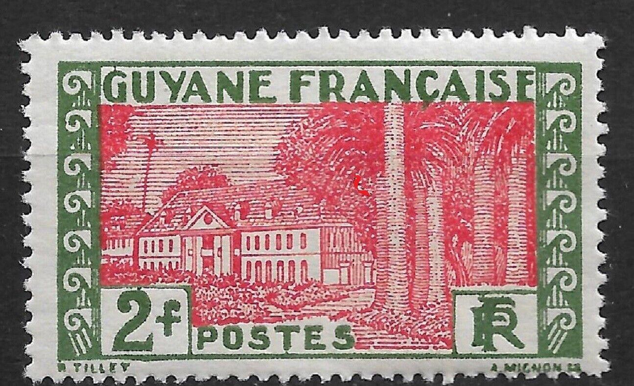 French Guiana 1929, 2fr, Scott 145,VF Mint H OG RONGLN-5  - $3.85