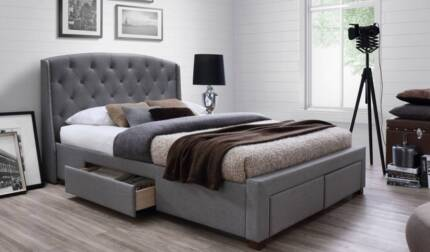 Fabric King Bed with 4 storage drawers (assembly required)