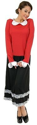 Olive Oyl Oil Popeye Retro Sailor's Girl Fancy Dress Up Halloween Adult Costume (Popeye Halloween Kostüme)