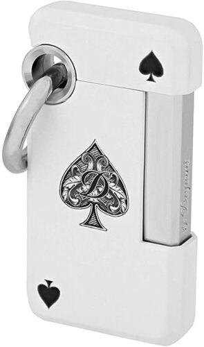 S.T. Dupont Hooked Jet Lighter with Ring, White with Ace, 032008 (32008) NIB