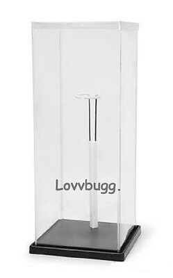 2 x Doll Display Case 7x7x18  Plastic Includes Base and Stand Accessory Fits Lots of Doll s