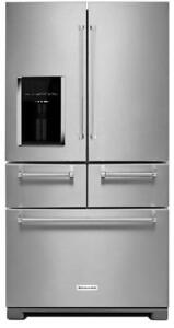 KitchenAid KRMF706ESS 5 Door Design Platinum Interior Refrigerator External Ice & Water