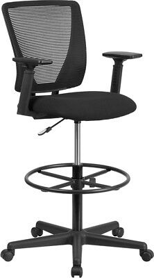 Ergonomic Mid-back Mesh Drafting Chair W Fabric Seat Foot Ring Adjustable Arms