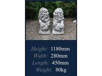 Pair of large foo dogs garden ornament