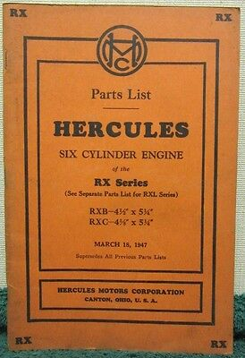 i 1947 Hercules Six Cylinder Engine of the RX Series Parts List