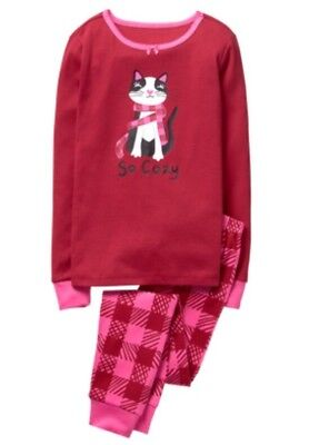 NWT Gymboree Girls Holiday Christmas So Cozy Kitty Cat Scarf PJs Size 8