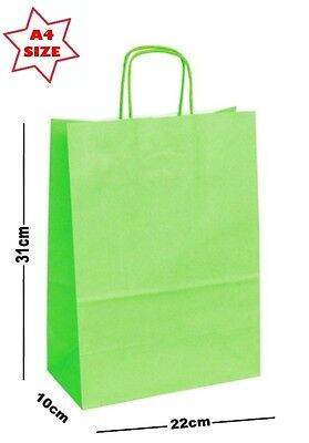 5 x Lime Green Paper Party Gift Bags ~ Boutique Shop Loot Carrier Bag - SIZE A4 - Lime Green Gift Bags