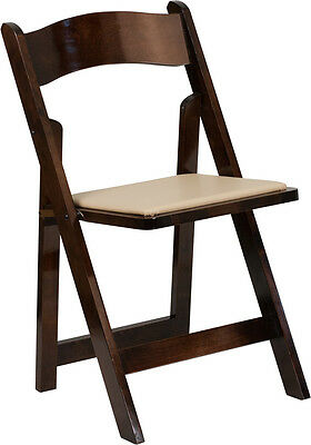 Lot Of 2 Hercules Series Fruitwood Wood Folding Chair With Vinyl Padded Seat