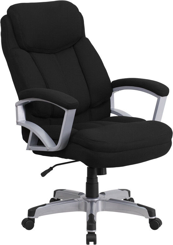 500 Lbs Capacity Big & Tall Black Fabric Executive Office Ch