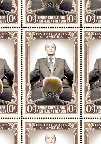 Trump - Takes A Knee - Art Stamps (Artistamp, Faux Postage, REPRO)  RESIST!