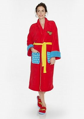 Wonder Woman Womens Fleece Super Hero Adult Dressing Bath Gown Bath Robe RETRO - Superhero Nightgown