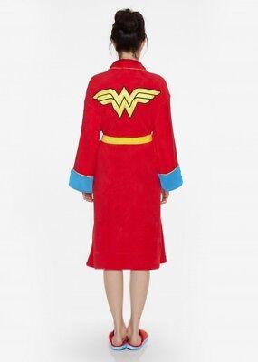 Wonder Woman Womens Super Hero Adult Dressing Gown Bath Robe RETRO Slippers Mule - Superhero Nightgown