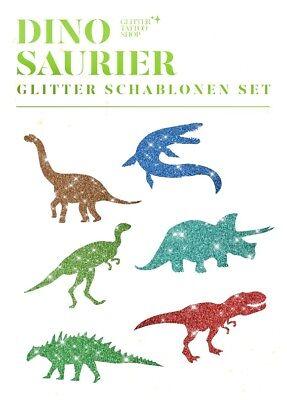Glitzer Tattoo Schablonenset 12 Dinosaurier Kindergeburtstag Glitzer Tattoo Dinosaurier Schablonen