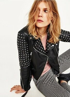 Zara Short Leather Jacket With Metallic Rings. 2017 Spring/Summer.Size M. for sale  Shipping to Canada