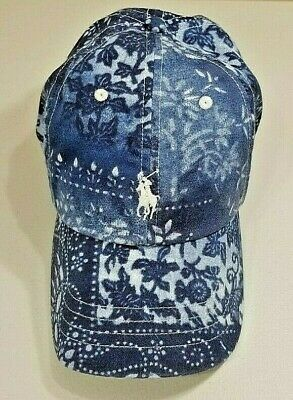 42d775a91449c Ralph Lauren Bandanna Print Baseball Hat Moroccan Tile Blue NWT
