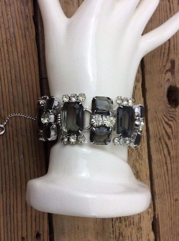 beautiful vintage chunky juliana d e black diamond rhinestone bracelet 198