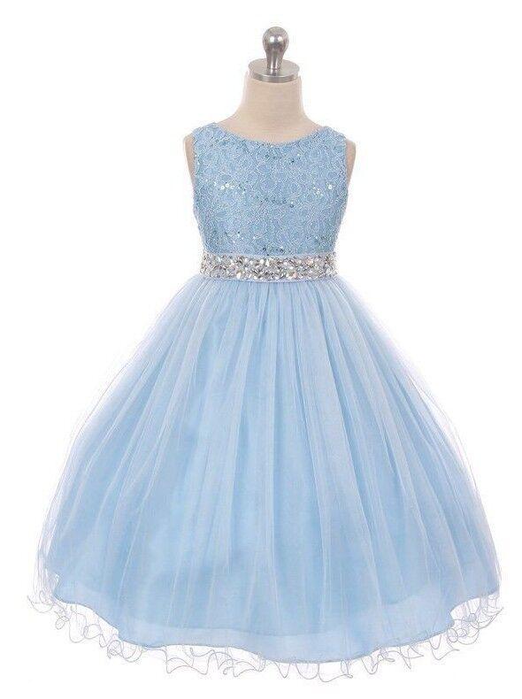 Light Blue Flower Girls Dress Rhinestones Wedding Easter Chr