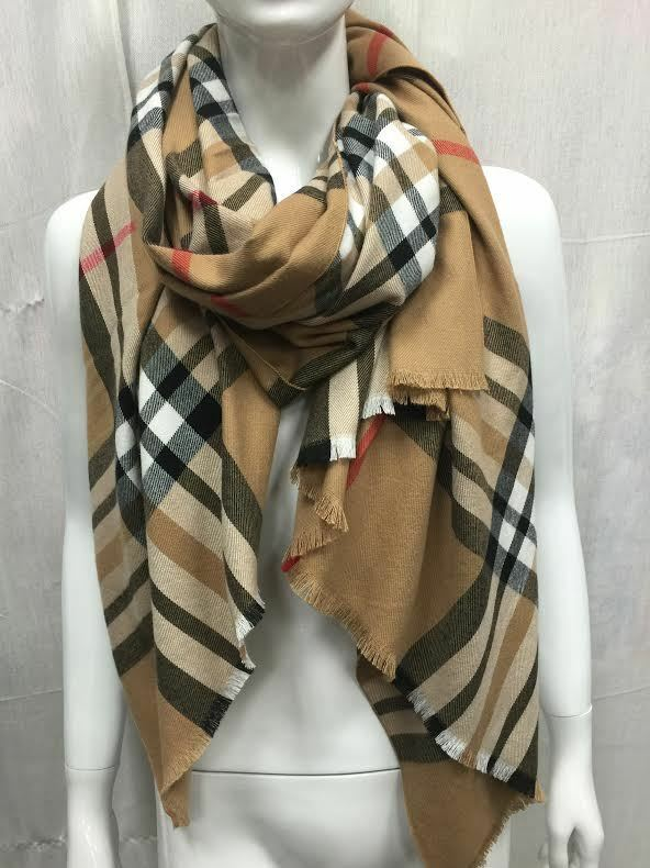Scarf - OVERSIZED LARGE 100% CASHMERE SCARF MADE IN SCOTLAND BEIGE PLAID SUPER SOFT