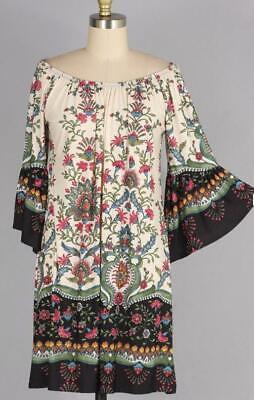 Belle Peasant Dress (Plus Size Floral Boho Peasant Dress Elastic Neckline 1X 2X 3X Bell Sleeves)