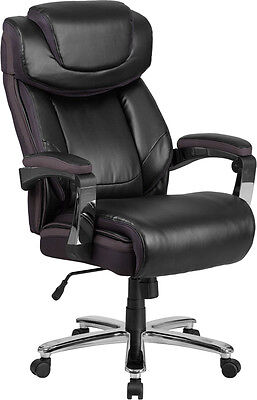 Big Tall Black Leather Executive Office Chair Extra Wide Seat 500lb.capacity